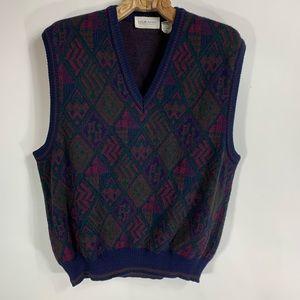 Vintage Jewel To e Sweater Vest Wool Blend Large